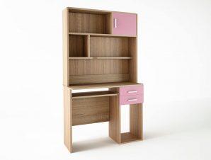 Παιδικό γραφείο με εταζέρα σε χρώμα δρυς-ροζ