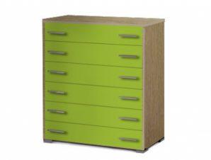 Συρταριέρα παιδική με 6 συρτάρια σε χρώμα δρυς-λαχανί 90x45x1,08