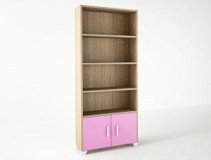 Βιβλιοθήκη παιδική σε χρώμα δρυς-ροζ 75x30x180