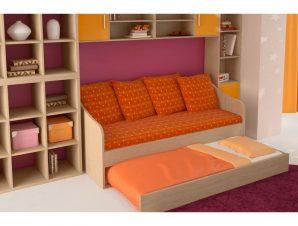 """Κρεβάτι-καναπές """"SILKY"""" με συρόμενο κρεβάτι σε χρώμα δρυς 80×190"""