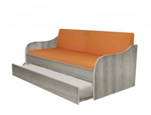 """Κρεβάτι-καναπές """"SILKY"""" με συρρόμενο κρεβάτι σε χρώμα σταχτί 80×190"""