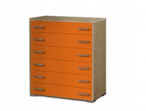 Συρταριέρα παιδική με 6 συρτάρια σε χρώμα δρυς-πορτοκαλί 90x45x1,08