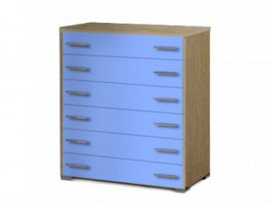 Συρταριέρα παιδική με 6 συρτάρια σε χρώμα δρυς-σιελ 90x45x1,08