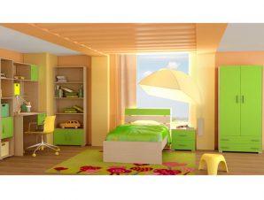"""Παιδικό δωμάτιο """"NOTA"""" σετ 7 τμχ σε χρώμα δρυς-λαχανί"""