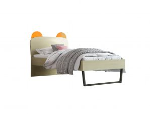 """Παιδικό κρεβάτι """"ΚΟΡΩΝΑ"""" μονό σε χρώμα δρυς-πορτοκαλί 90×190"""