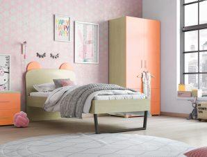 """Παιδικό δωμάτιο """"ΚΟΡΩΝΑ"""" σετ 3 τμχ. σε χρώμα δρυς-πορτοκαλί"""