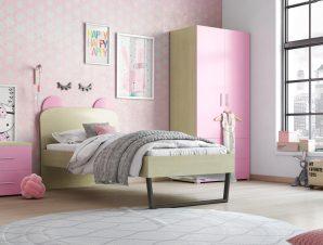 """Παιδικό δωμάτιο """"ΚΟΡΩΝΑ"""" σετ 3 τμχ. σε χρώμα δρυς-ροζ"""