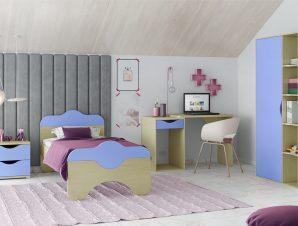 """Παιδικό δωμάτιο """"ΠΑΖ"""" σετ 4 τμχ. σε χρώμα δρυς-μπλε"""