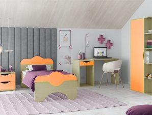 """Παιδικό δωμάτιο """"ΠΑΖ"""" σετ 4 τμχ. σε χρώμα δρυς-πορτοκαλί"""