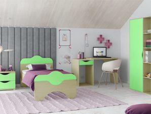 """Παιδικό δωμάτιο """"ΠΑΖ"""" σετ 4 τμχ. σε χρώμα δρυς-λαχανί"""