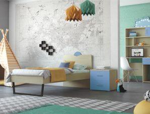 """Παιδικό δωμάτιο """"ΑΝΑΤΟΛΗ"""" σετ 5 τμχ σε χρώμα δρυς-μπλε"""