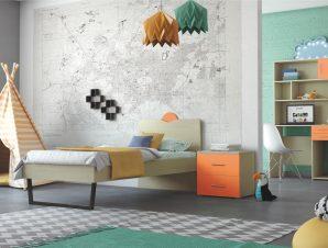 """Παιδικό δωμάτιο """"ΑΝΑΤΟΛΗ"""" σετ 5 τμχ σε χρώμα δρυς-πορτοκαλί"""