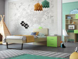 """Παιδικό δωμάτιο """"ΑΝΑΤΟΛΗ"""" σετ 5 τμχ σε χρώμα δρυς-λαχανί"""