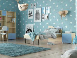 """Παιδικό δωμάτιο """"ΤΟΞΟ"""" σετ 5 τμχ σε χρώμα δρυς-μπλε"""
