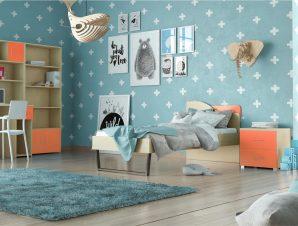"""Παιδικό δωμάτιο """"ΤΟΞΟ"""" σετ 5 τμχ σε χρώμα δρυς-πορτοκαλί"""