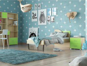 """Παιδικό δωμάτιο """"ΤΟΞΟ"""" σετ 5 τμχ σε χρώμα δρυς-λαχανί"""