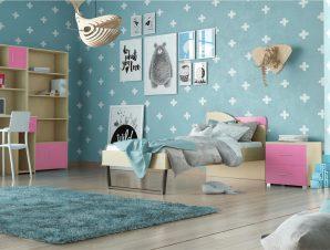 """Παιδικό δωμάτιο """"ΤΟΞΟ"""" σετ 5 τμχ σε χρώμα δρυς-ροζ"""