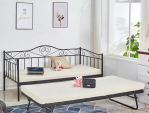 Κρεβάτι-καναπές μονό επεκτ/νο μεταλλικό σε χρώμα μαύρο 90x190x93