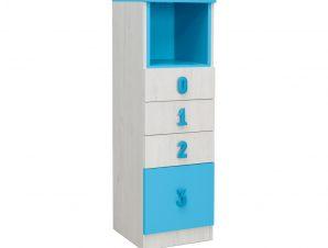 """Συρταριέρα """"NUMERO"""" με 4 συρτάρια σε λευκό δρυός-μπλε χρώμα 40x42x126,5"""
