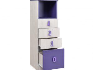"""Συρταριέρα """"NUMERO"""" με 4 συρτάρια σε λευκό δρυός-μωβ χρώμα 40x42x126,5"""