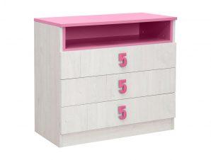 """Συρταριέρα """"NUMERO"""" σε λευκό δρυός-ροζ χρώμα 80x52x75"""