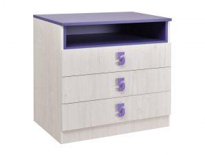 """Συρταριέρα """"NUMERO"""" σε λευκό δρυός-μωβ χρώμα 80x52x75"""