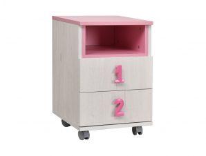 """Κομοδίνο """"NUMERO"""" τροχήλατο σε χρώμα λευκό-ροζ 40x42x60"""