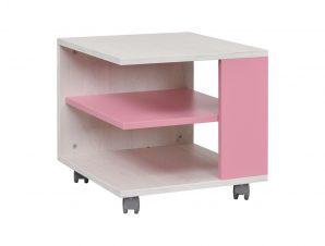 """Τραπεζάκι """"NUMERO"""" τροχήλατο σε λευκό-ροζ χρώμα 45x45x43"""