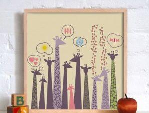Καμηλοπαρδάλεις Παιδικά Πίνακες σε καμβά 50 x 50 cm