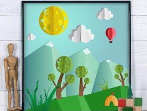 Ευτυχισμένο λιβάδι Παιδικά Πίνακες σε καμβά 50 x 50 cm