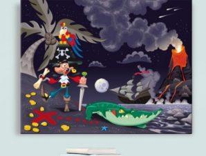 Πειρατής σε νησί Παιδικά Πίνακες σε καμβά 45 x 57 cm