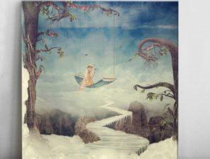 Φανταστική πόλη στα σύννεφα Παιδικά Πίνακες σε καμβά 47 x 50 cm