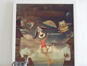 Σκυλάκι πετάει Παιδικά Πίνακες σε καμβά 50 x 50 cm