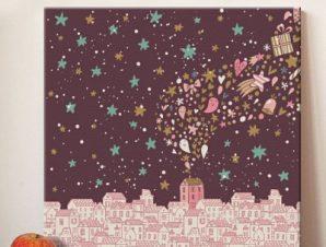 Νυχτερινή πόλη Παιδικά Πίνακες σε καμβά 50 x 50 cm