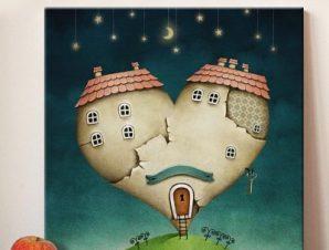 Καρδούλα σπίτι Παιδικά Πίνακες σε καμβά 50 x 50 cm