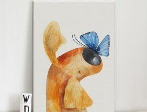 Σκύλος παίζει με πεταλούδα Παιδικά Πίνακες σε καμβά 50 x 40 cm
