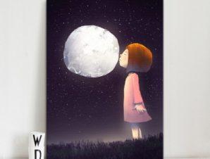 Κοριτσάκι φιλάει το φεγγάρι Παιδικά Πίνακες σε καμβά 67 x 40 cm