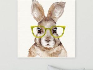 Κουνελάκι με κίτρινα γυαλιά Παιδικά Πίνακες σε καμβά 50 x 50 cm