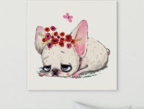 Σκυλάκι που βαριέται Παιδικά Πίνακες σε καμβά 50 x 50 cm