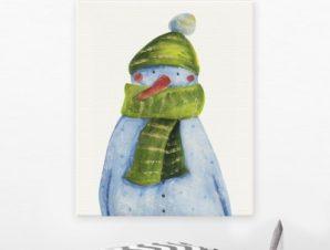 Χιονάνθρωπος Παιδικά Πίνακες σε καμβά 48 x 40 cm