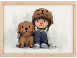 Αγκαλιά με τον πιστό φίλο Παιδικά Πίνακες σε καμβά 43 x 65 cm