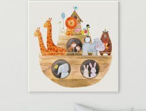 Κιβωτός με ζώα Παιδικά Πίνακες σε καμβά 50 x 50 cm