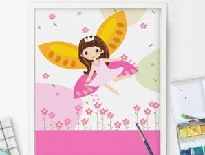 Χαριτωμένη νεράιδα Παιδικά Πίνακες σε καμβά 60 x 45 cm