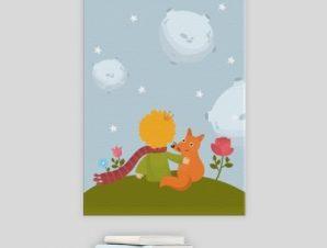 Ο μικρός Πρίγκιπας η αλεπού & το τριαντάφυλλο Παιδικά Πίνακες σε καμβά 57 x 40 cm