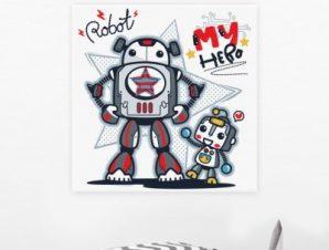Το ρομπότ, ο ήρωάς μου Παιδικά Πίνακες σε καμβά 50 x 50 cm
