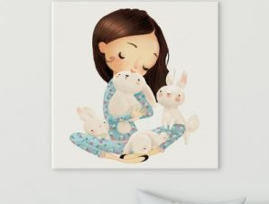 Χαριτωμένα κουνελάκια Παιδικά Πίνακες σε καμβά 50 x 50 cm