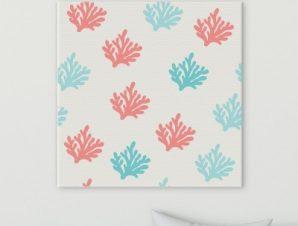 Μοτίβο κοράλι Παιδικά Πίνακες σε καμβά 50 x 50 cm