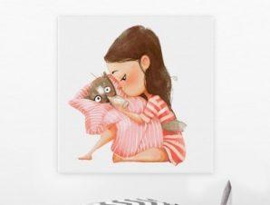 Κορίτσι ταΐζει γάτα Παιδικά Πίνακες σε καμβά 50 x 50 cm