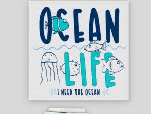 Η ζωή στον ωκεανό Παιδικά Πίνακες σε καμβά 50 x 50 cm