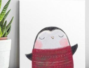 Πιγκουινάκι Παιδικά Πίνακες σε καμβά 50 x 50 cm